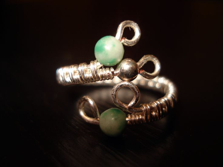Wire Ring With 4mm Beads by IALINA