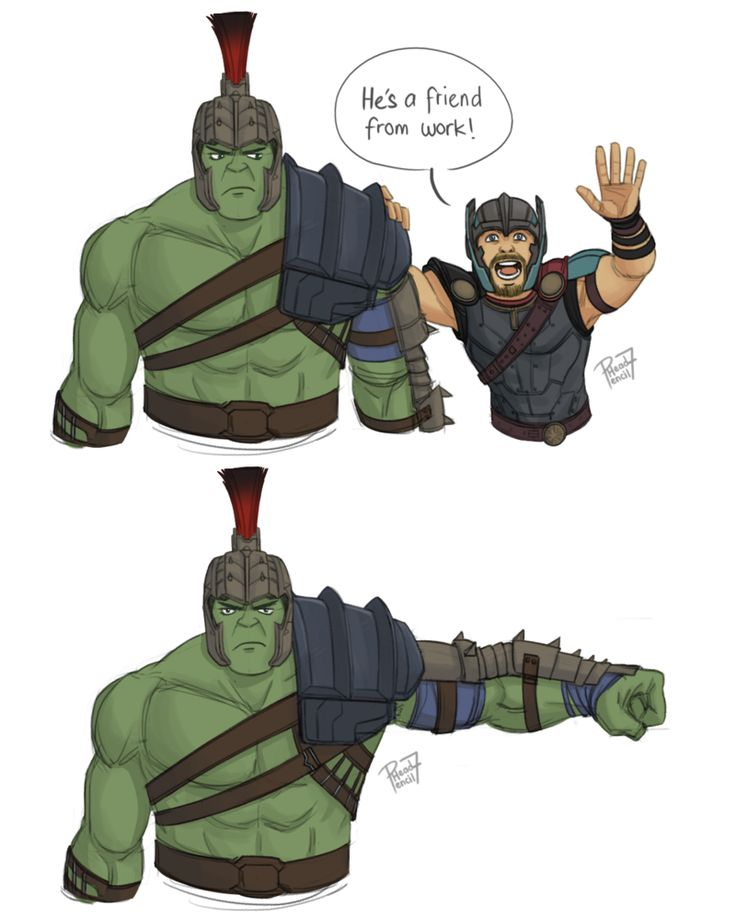 """He's my friend! by pencilHead7 on DeviantArt.....""""We know each other! He's a friend from work!"""" XD Hulk still has some issues with Thor..."""