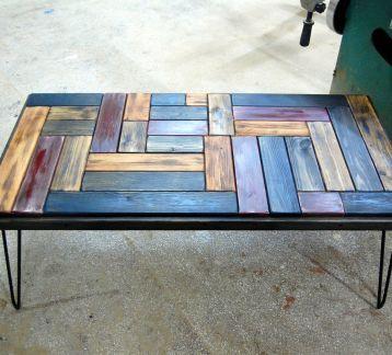 Çelik ayakli puzzle orta sehpa / L boy 120/60 cm