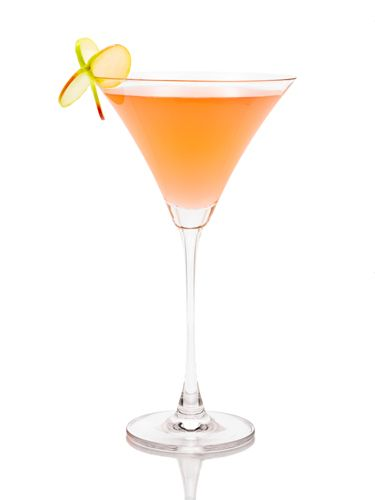 Tangerine Touch  1 oz. X-Rated Fusion Liqueur 1 oz. Sagatiba Pura Cachaca 2 oz. guava juice or nectar Juice of half of a lime Garnish: apple slice