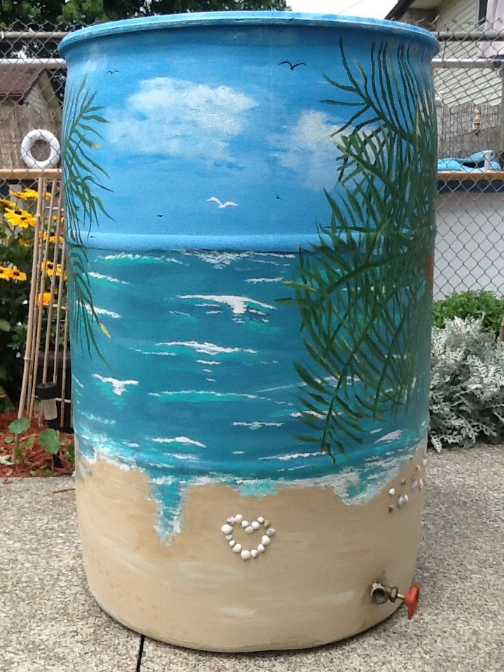 tropical painted rain barrel