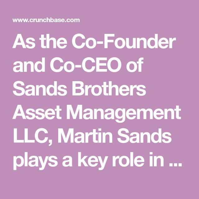 As the Co-Founder and Co-CEO of Sands Brothers Asset Management LLC, Martin Sands plays a key role in driving the growth and development of ...