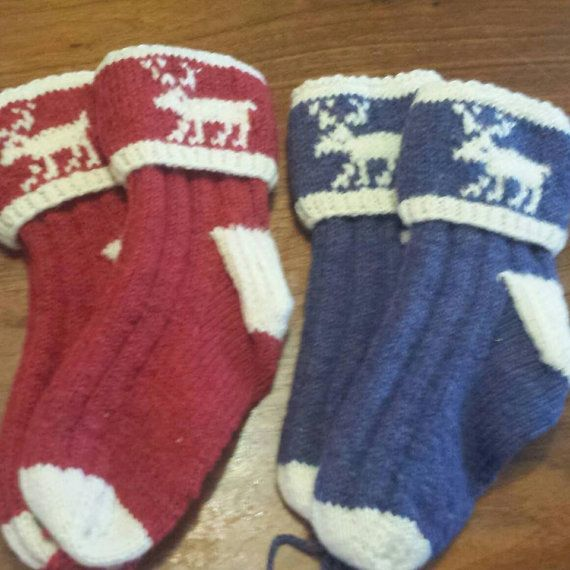Hand Knitted Newfoundland Moose Socks, made with 100% wool, available in Red , brown and Blue.  They are very warm and soft to the touch. XS fits