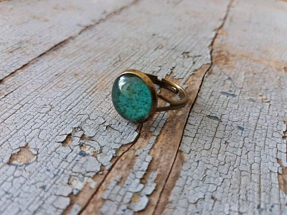 Ring in tiffany grün ring gift boucle Cabochon ring
