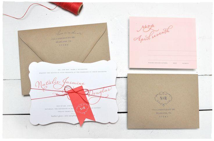 Romance Script Wedding Invitation suite | Romantic pink and red wedding invitation fancy cut | Smitten On Paper