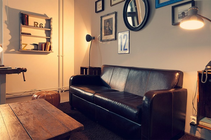 We found this leather sofa on ebay and it is soo comfy. Most of the pics above the sofa come from Battersea market. www.tinquer.com