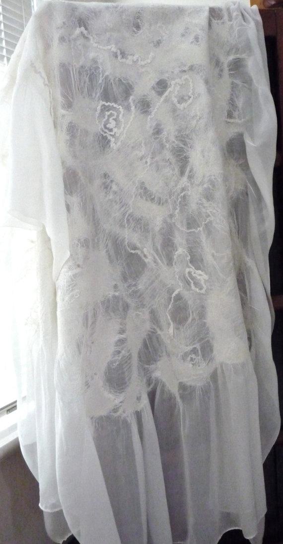 DEPOSIT for Bridal scarf shawl white silk and wool by artshells, $20.00