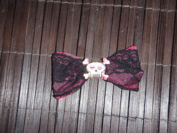 I'm gonna get my wife something like this Black and lace skull hair bow by BojanglesBows on Etsy, $5.00