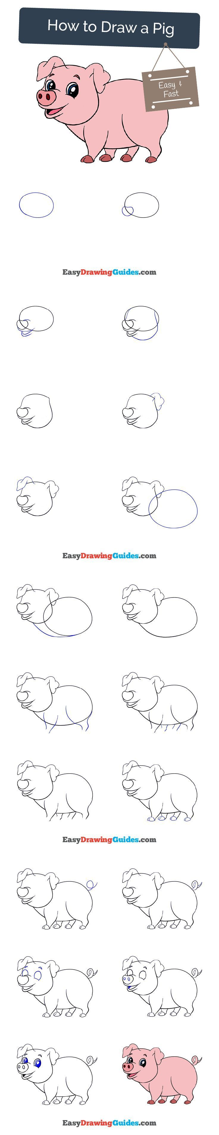 Learn how to draw a cute pig. Easy step by step drawing tutorial for kids and beginners. #pig #cartoon #drawing #tutorial.