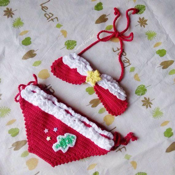 Christmas beach bikiniCrochet baby por EarnCrochet en Etsy