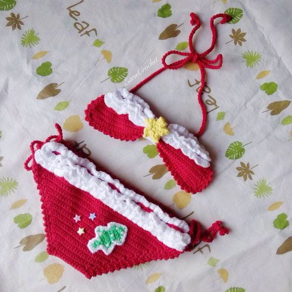 This pretty crochet Bikini Beach Baby made of Cotton 100% yarn is perfect for spring & summer. Great as a baby shower or new baby gift.  PLEASE NOTE