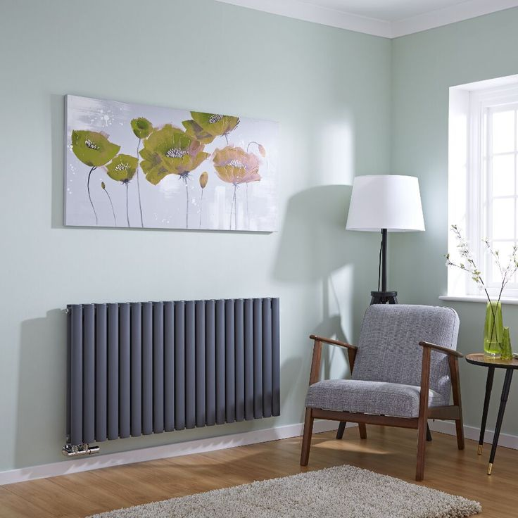 Milano Aruba Flow - Anthracite Horizontal Double Panel Middle Connection Designer Radiator 635mm x 1180mm