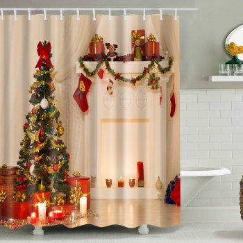 Xmas Tree Printed Christmas Waterproof Shower Curtain