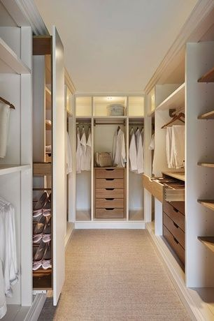 Contemporary Closet with Crown molding, Built-in bookshelf, Carpet, California Closets Walk-In Closet Custom Cabinetry