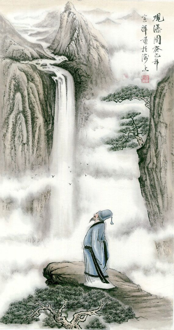 Waterfall Appreciation - Original Chinese Landscape by 1804Creation