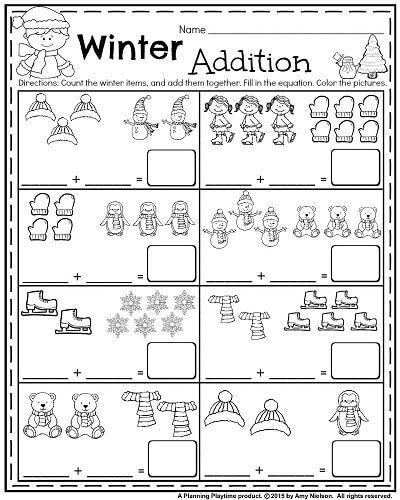 Kindergarten Winter Worksheets Printable