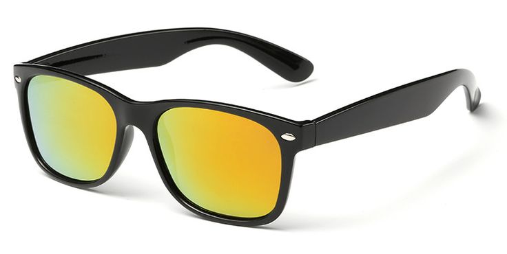 Pánské zrcadlové brýle - Wayfarer, černo zlaté
