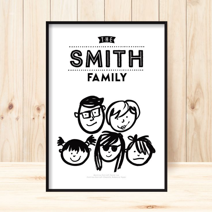 """Rock the family with this humourous, create-your-own custom FAMILY PORTRAIT wall art print. New faces have been added with over 100 faces to choose from. Also a great idea for the staff room!  All you need to do is this: All you need to do is this: 1. Select your print size 2. Provide your surname 3. Select the characters you want to use from the """"head"""" charts 4. Supply the numbers from the chart with the name and age in brackets you want to use. ie. #46 - David (dad); #86 - Lucy (aged 10)…"""