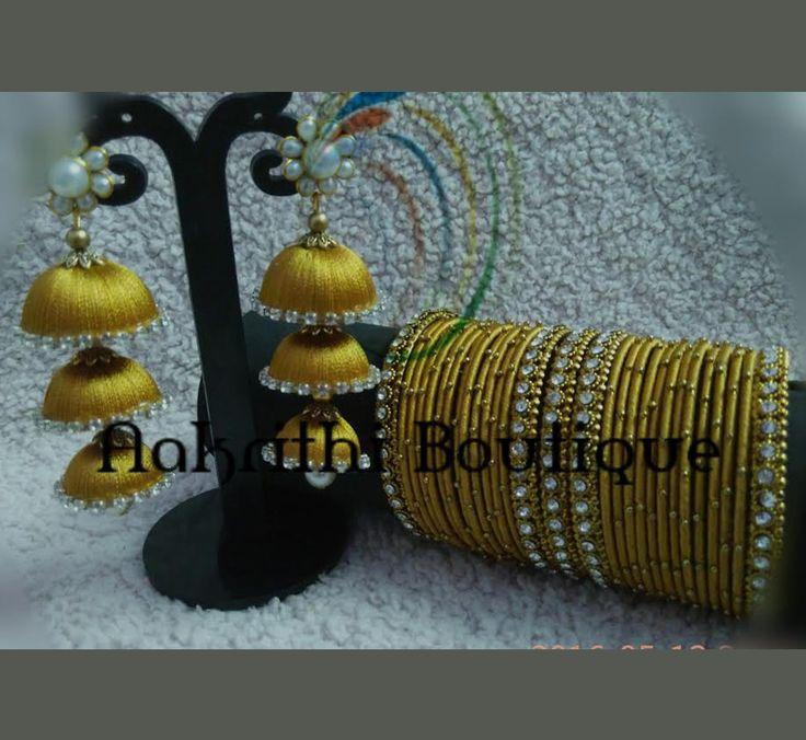 Image result for silk thread three layer jhumka