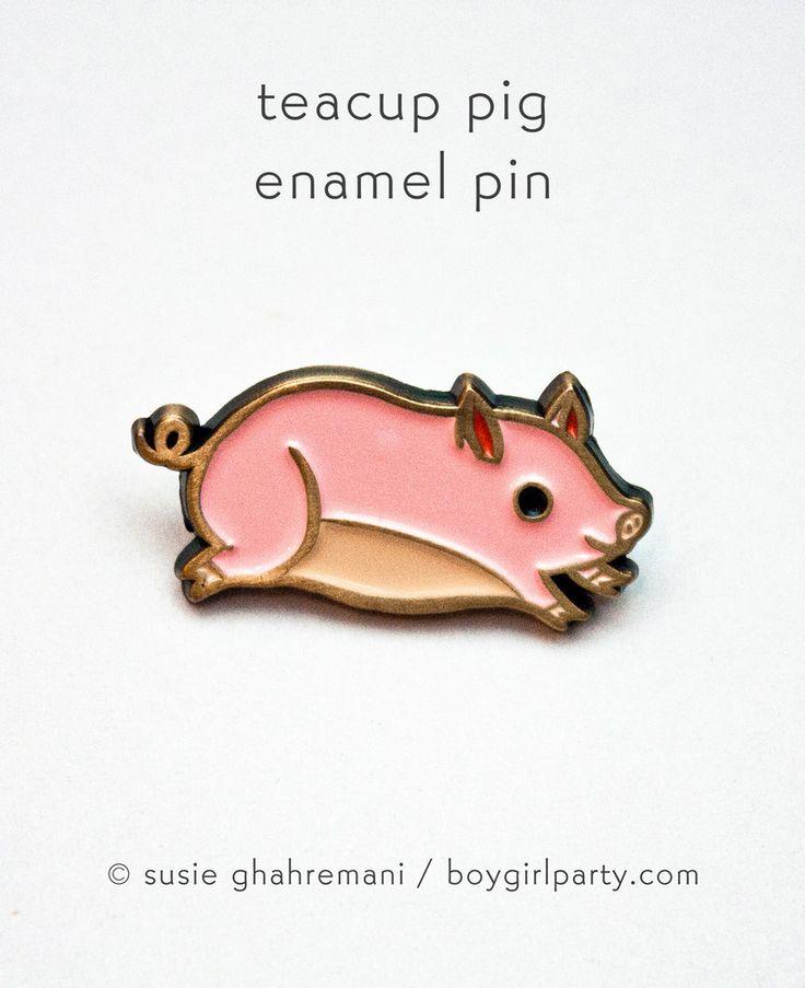 Teacup Pig Enamel Pin by Susie Ghahremani / boygirlparty.com (source: http://shop.boygirlparty.com/products/pig-pin-teacup-pig-enamel-pin?variant=14367395015 )