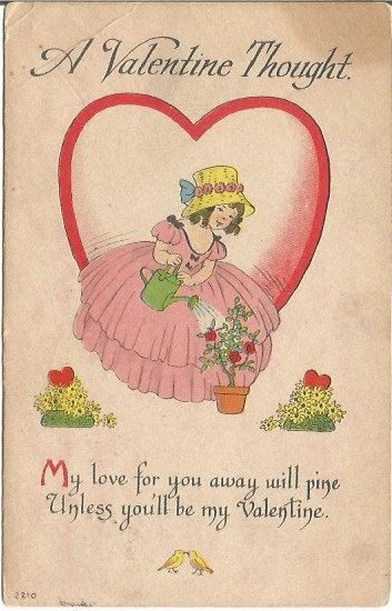 Vintage Valentine Greeting Girl Watering Potted Red Roses With