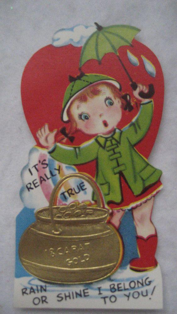Vintage Valentine Gold Embossed Card Girl Umbrella Rain Or Shine Pot Of  Gold NEW