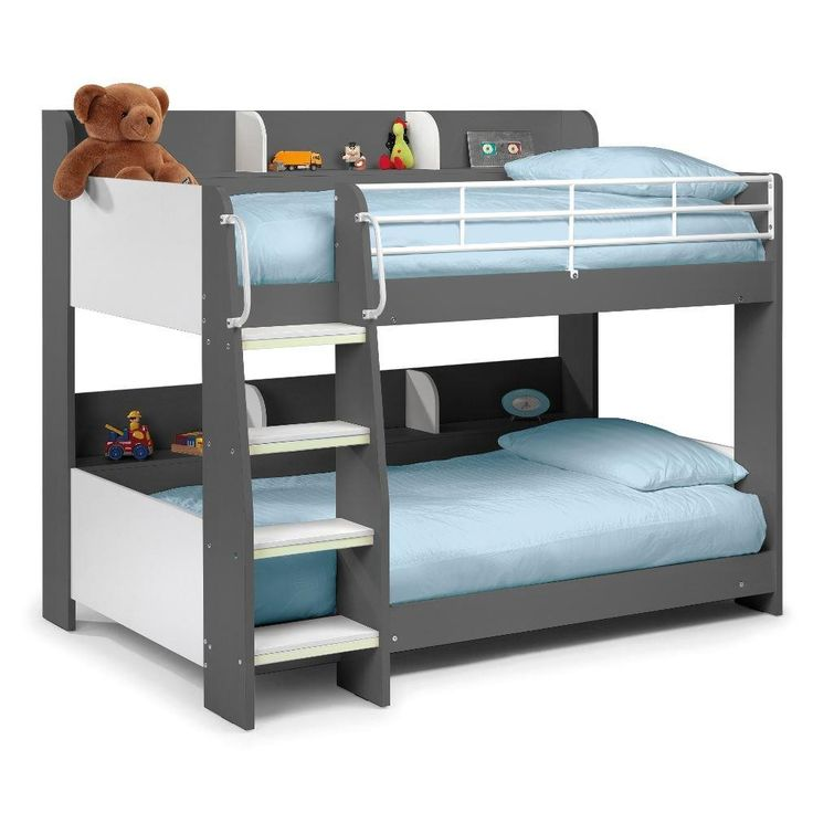 The Domino is a modern and stylish children's bed featuring shelves integrated into a bunk bed sleeping space. The Domino grey has a rounded, contemporary and fun design and two bunks with an in-built, segmented shelving unit perfect for books, alarm clocks, toys and other bits and bobs they like