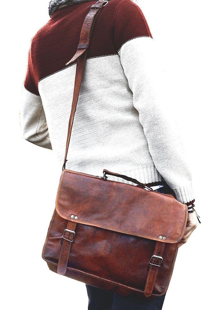 """Gusti Cuir nature """"Paul"""" sac pour ordinateur portable serviette en cuir sac business sac à bandoulière cuir de chèvre homme femme marron U24n-1: Amazon.fr: Bagages"""