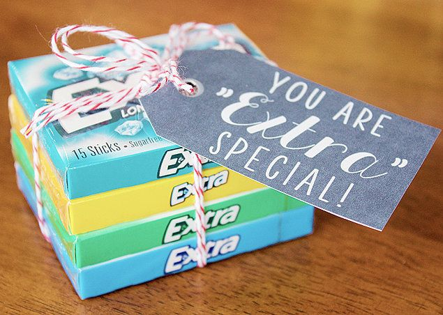 "This is a cute idea for a gum lover, just buy some packs of extra gum, tie it up neatly and put a tag on it with a pun like You are ""extra"" special"
