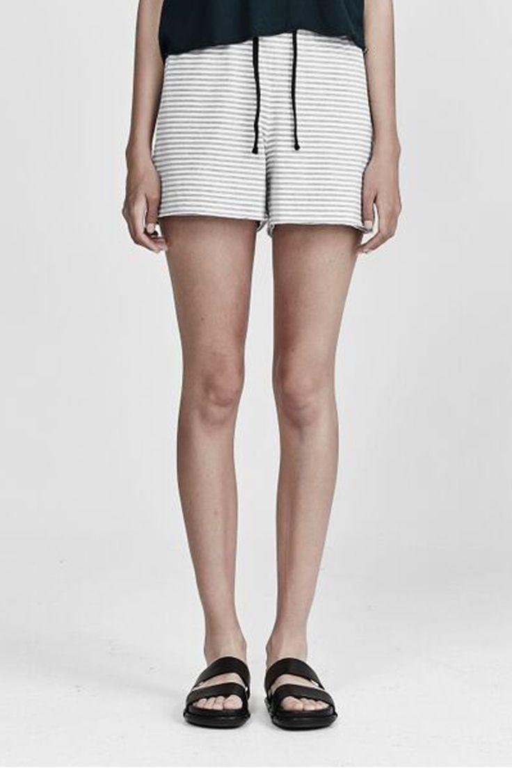 commoners - Raw Hem Jersey Short | Marle White Stripe