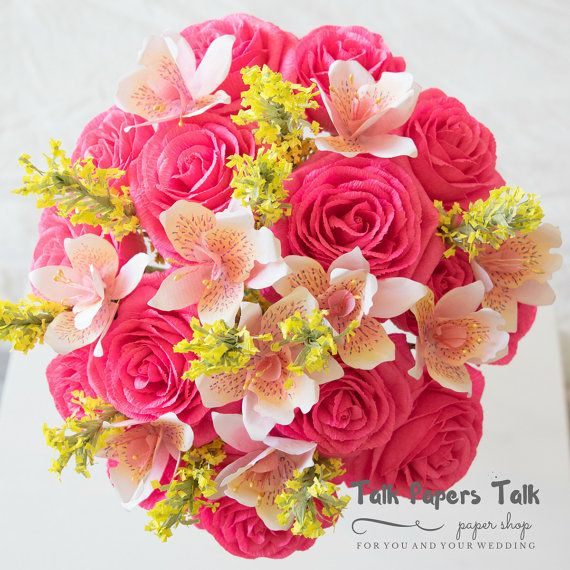 Bridal bouquet  Crepe paper flowers  Rose by TalkPapersTalk