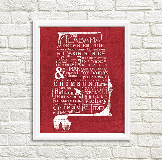 Yea Alabama Bama Crimson Tide State Fight Song by AveryWorkDesign