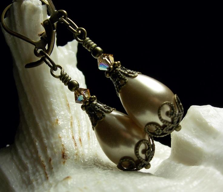 Champagne Ivory Teardrop Crystal Pearl Earrings Steampunk Jewellery Vintage Victorian Bridal Style. $27.00, via Etsy.