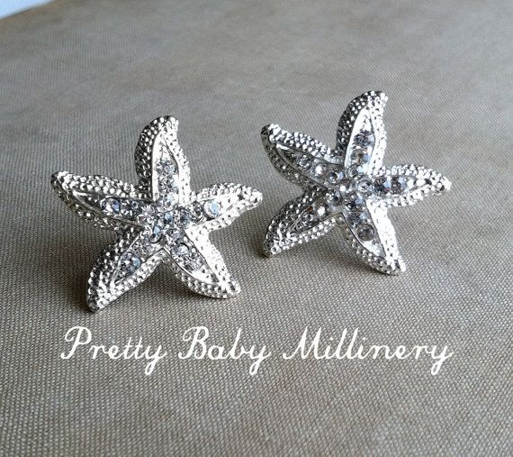 Beach Wedding Earrings - beach wedding jewelry, Starfish earring, Rhinestone stud crystal sea star accessories accessory SILVER on Etsy, $20.00