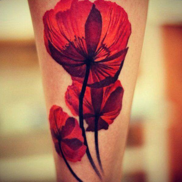 unterarm tattoo ideen Mohnblume