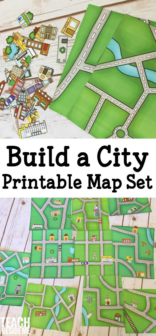 It's time for some fun geography hands-on learning!  I love mapping activities and have put together a fun printable set to build a city map. This fun printable set is 15 pages long and includes 5 different map pages (each in color and black and white). It also includes 2 pages of buildings, cars, trees, and ponds …