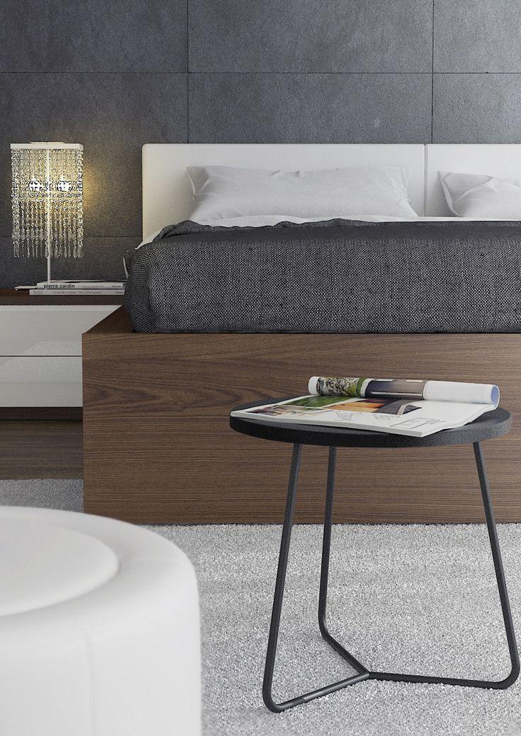 Moderní ložnice v hnědo bílé kombinaci. Elegantní manželská postel s čalouněným čelem.