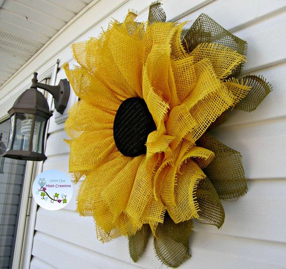 Sunflower Wreath Paper Mesh Fall Paper by HootOwlMeshCreations
