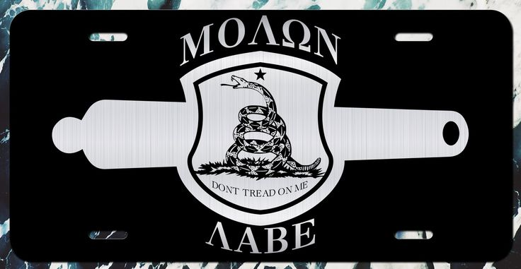 Molon Labe Gadsden Flag Crest Vanity Vanity License Plate | Etched Aluminum | 6-Inches By 12-Inches | Car Truck RV Trailer Wall Shop Man Cave
