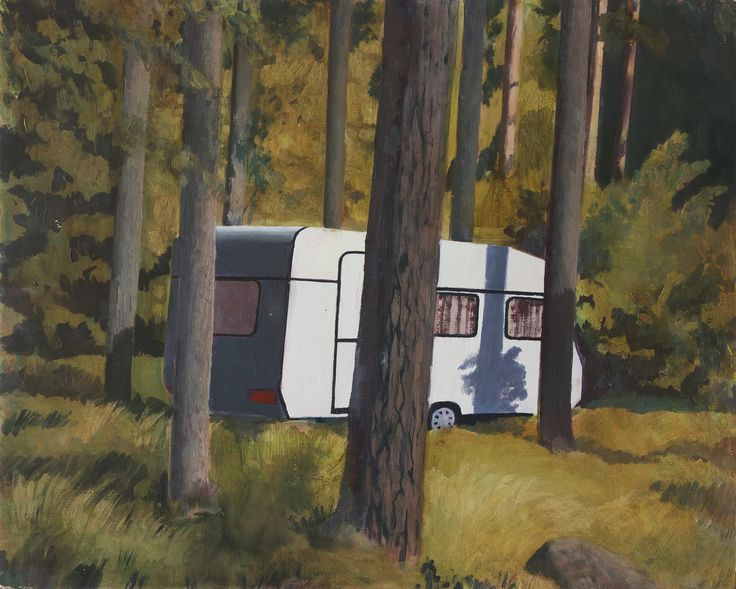 Camping, by the contemporary Swedish artist Peter Ern. 2015.