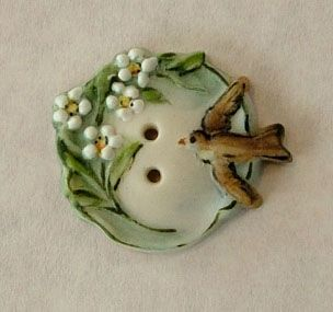 Handmade Hand Painted in USA Porcelain Button Sweetest Bird White Flowers