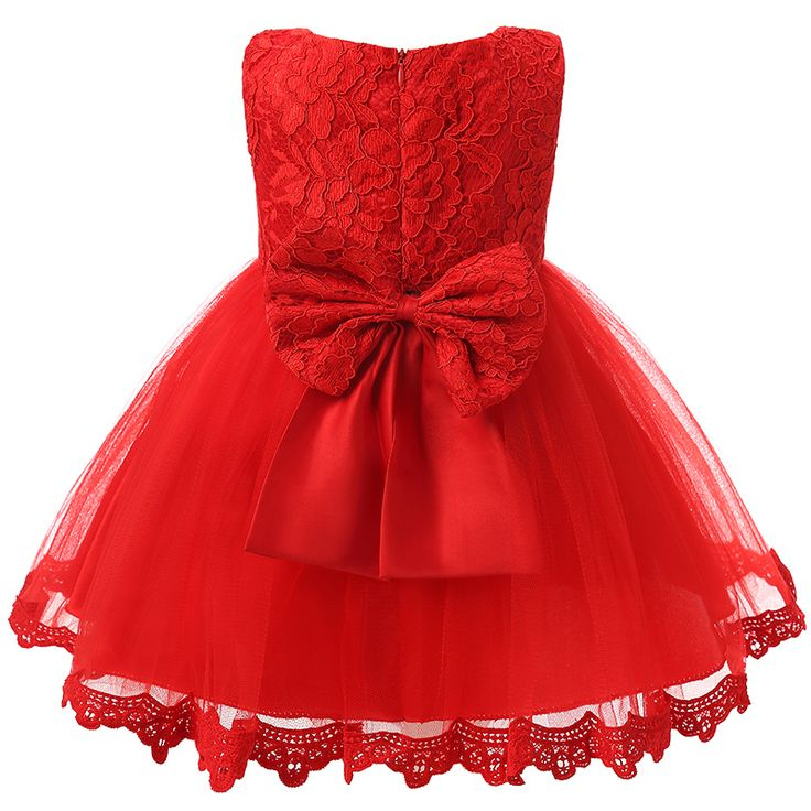 1 Yıl Için bebek Kız Giysileri Bebek Parti Elbise Kız bebek Doğum Günü Rop Yenidoğan Toddler Kız Vaftiz Elbisesi Kırmızı Vaftiz elbise