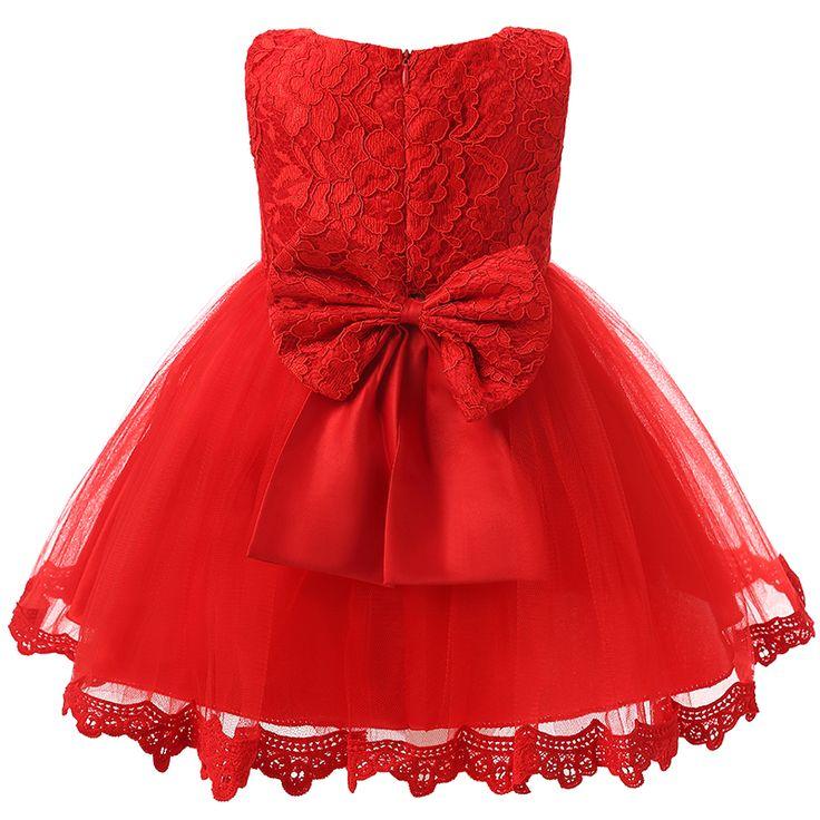 赤ちゃん女の子服幼児パーティードレス用1年女の子赤ちゃん誕生日フロック新生児幼児の女の子洗礼ガウンレッド洗礼ドレス