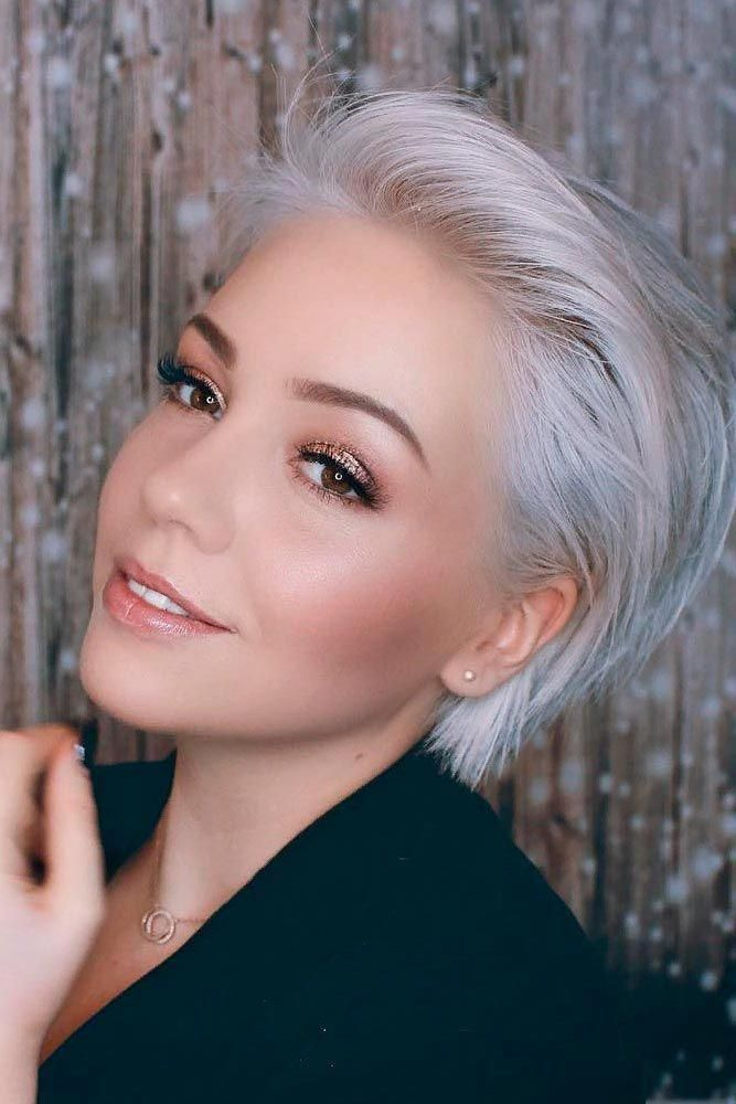 Side Swept Long Pixie #silverhair #pixiehairstyles ★  Short hairstyles for round faces are in trend! If you have blonde hair and a round face, check...