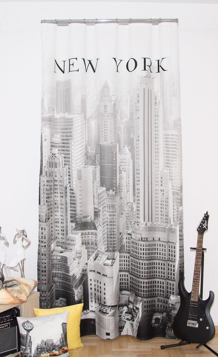 Zasłony dekoracyjne w kolorze szarym z Nowym Yorkiem