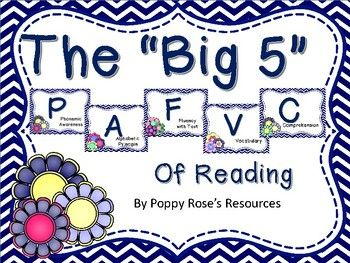 What are the big five in reading?There are 5 Big Ideas in Reading:Phonemic Awareness.Alphabetic Principle.Fluency with Text.Vocabulary.Comprehension.This pack contains all the necessary skills presented in I can statements for you to display in your class.