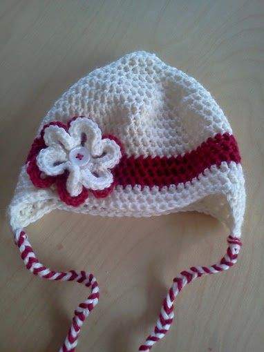 crochet red and white earflap hat