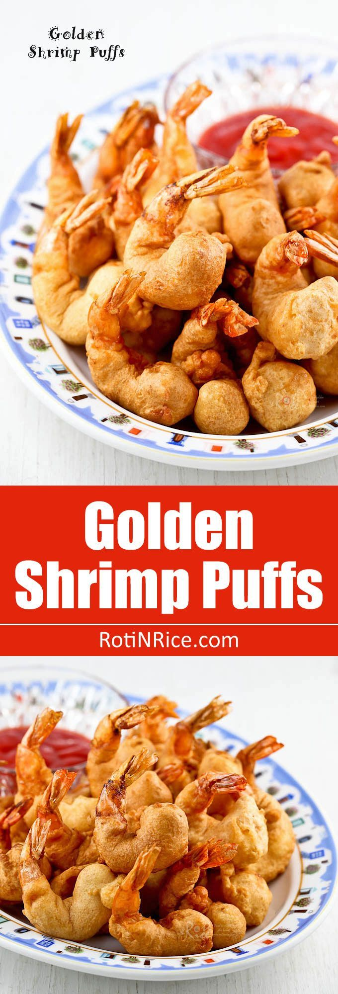 Quick and easy deep fried Golden Shrimp Puffs. Delicious served with sweet chili sauce. Perfect as an appetizer or a side dish.   http://RotiNRice.com