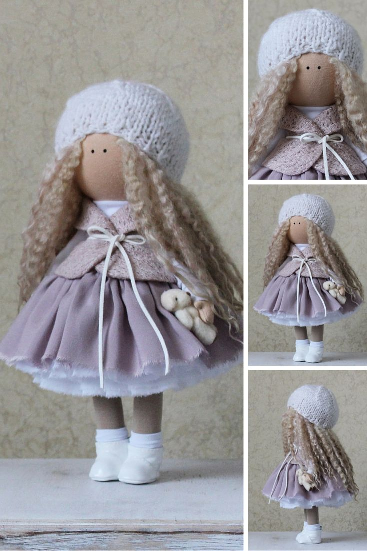 Fabric doll handmade white grey blonde Tilda doll Decor doll Interior doll Soft doll Baby doll Cloth doll magic by Master Margarita Hilko
