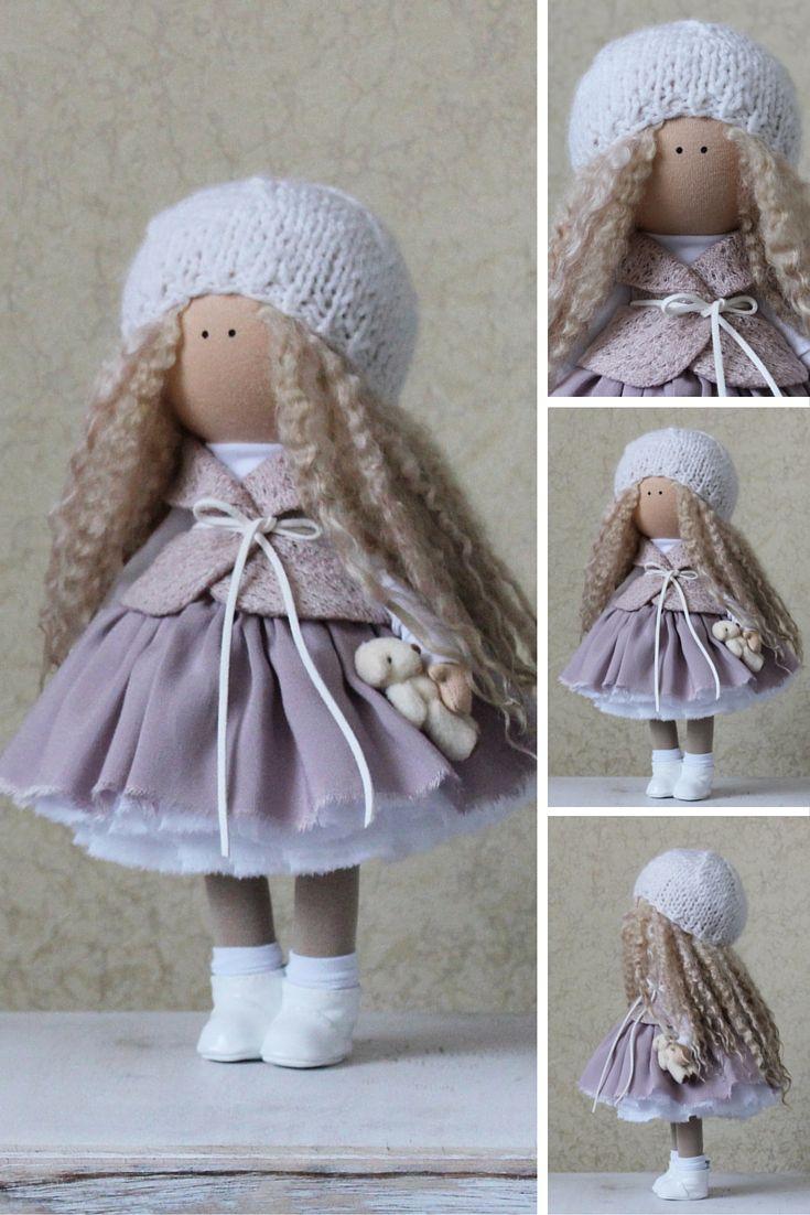 Fabric doll handmade white grey blonde Tilda doll Decor doll Interior doll Soft doll Baby doll Cloth doll magic by Master Margarita Hilko